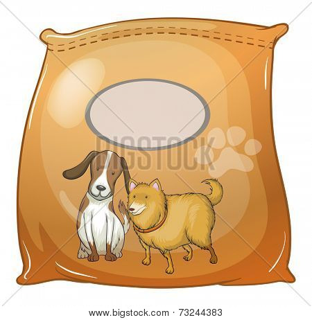 Illustration of a pack of dogfoods with an empty label on a white background