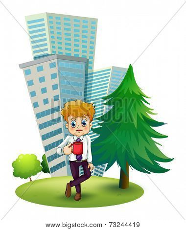Illustration of a businessman taking a break outside the office on a white background