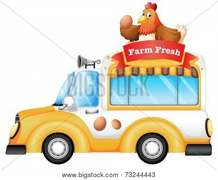 Illustration of a vehicle selling farm fresh products on a white background