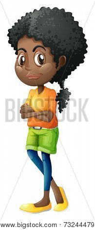 Illustration of a Black teenager on a white background