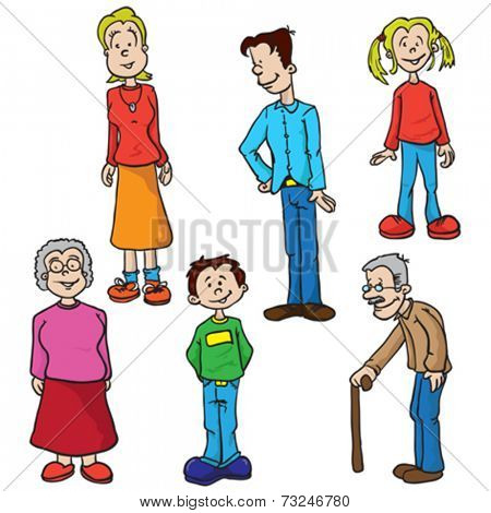 family set cartoon illustration