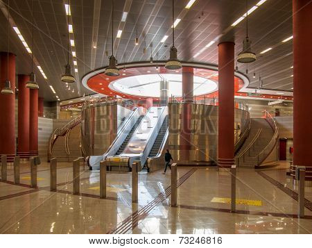 ATHENS, GREECE - OCTOBER 1:Elliniko metro station is the current southern terminus on Athens Metro Line 2 since the Elliniko extension opened in 26 July 2013 AThens OCTOBER 1st 2014