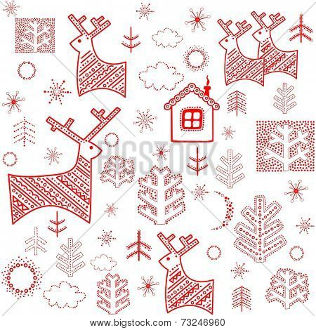Winter wallpaper with red print