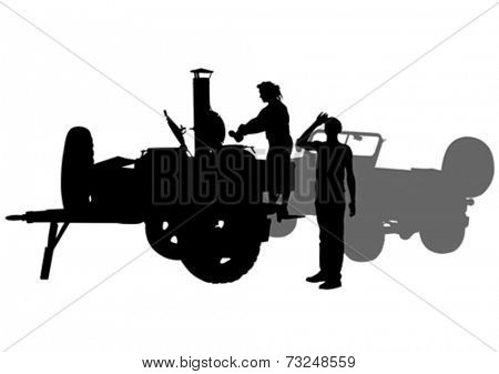 Silhouette of military field kitchen white background