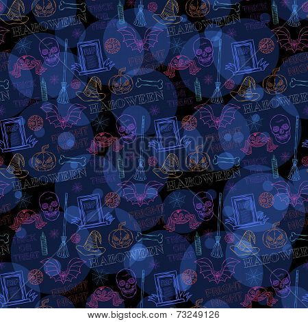 Seamless Neon Pattern With Halloween Themed Elements