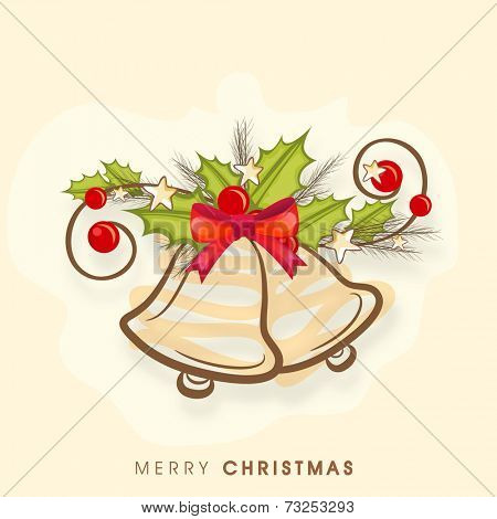 Beautiful jingle bells and holy berry tied by red ribbon on beige background for Merry Christmas celebrations.