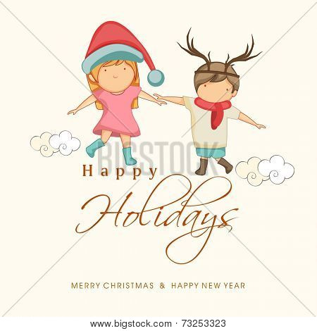 Cute little kids holding hands and enjoying their holidays, Beautiful greeting card for Merry Christmas, New Year and Happy Holidays celebrations.