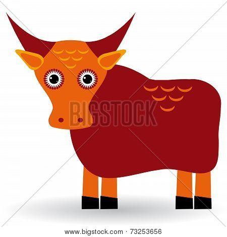 Cartoon Illustration Of Asian Yak Bull. Vector