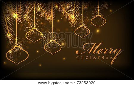 Merry Christmas celebrations greeting card design with hanging golden balls on brown background.