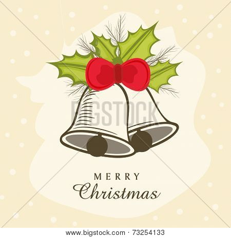 Jingle bells and holy berries tied on grungy beige background, beautiful greeting card design for Merry Christmas celebrations.