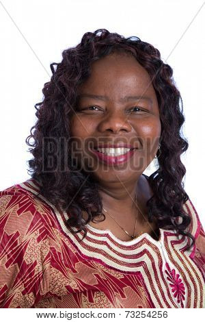 Mid Age African American Woman with Traditional Costume Closeup Happy Portrait Isolated on White Background