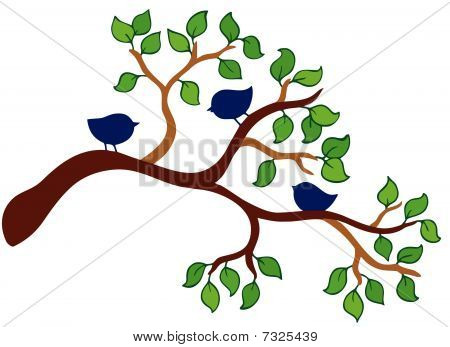Branch with three small birds