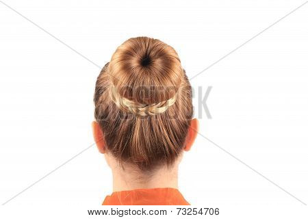 Beautiful woman with creative elegant hair bun.