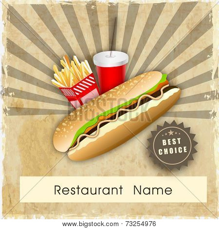 Vintage fast food menu price card design with hamburger, french fries and soft drink on grungy rays background.