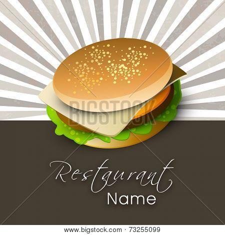 Vintage fast food menu price card design with hamburger.