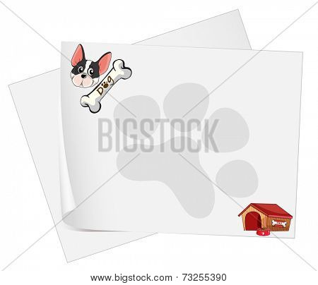 Illustration of the empty paper templates with a dog on a white background