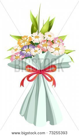 Illustration of a boquet of fresh and blooming flowers on a white background