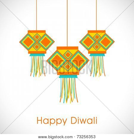 Diwali festival celebration with colorful hanging and stylish text of Happy Diwali on white.