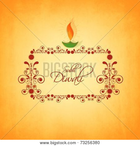 Floral decorated frame with stylish text of Subh Diwali and colorfull illuminated oil lit lamp for Diwali celebration on orange background.