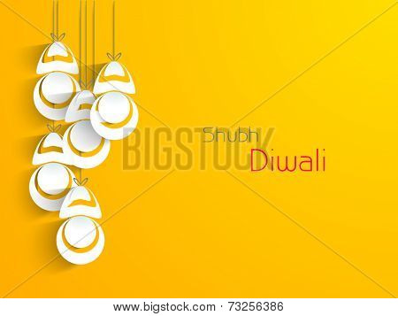 Stylish hanging and text of Shubh Diwali for Diwali celebration on shiny yellow background.