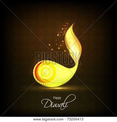 Pearl decorated illuminated oil lit lamp with stylish text of Diwali for Diwali celebration on shiny dark brown background.