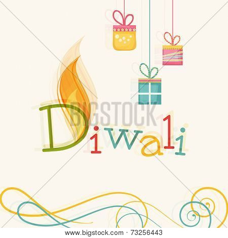 Stylish text of Diwali with flame and hanging gift for Diwali celebration on floral decorated background.