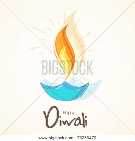 Illuminated oil lit lamp with stylish text of Diwali for Diwali celebration on beige colour background.
