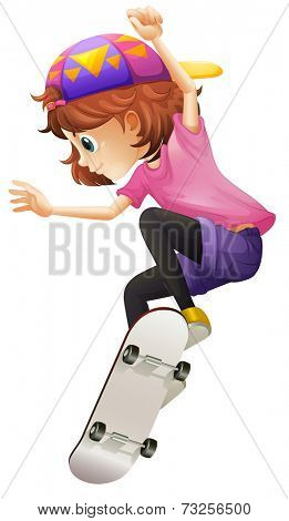 Illustration of an energetic young lady skating on a white background