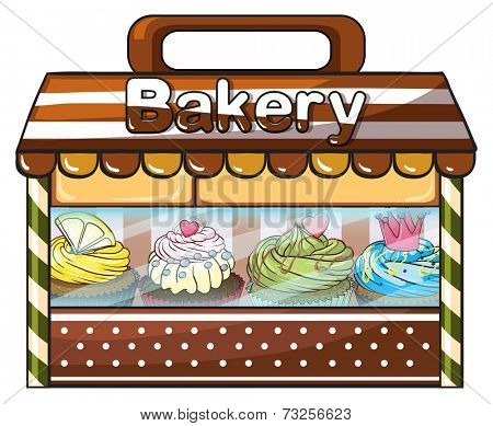 Illustration of a bakery selling baked goodies and cakes on a white background