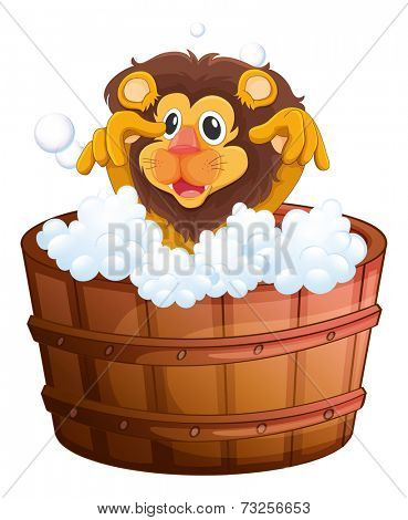 Illustration of a lion at the bathtub on a white background