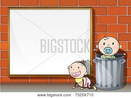 Illustration of the babies near the wall with an empty signboard