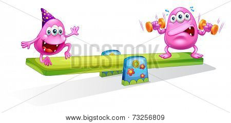 Illustration of the two pink monsters playing with the seesaw on a white background