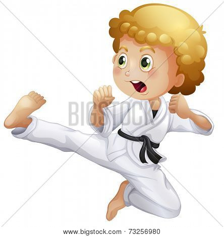 Illustration of a cute little boy doing karate on a white background