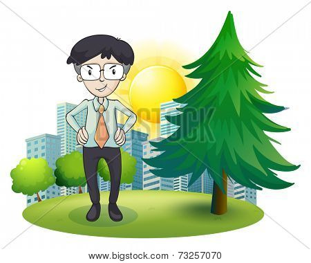 Illustration of a man standing beside the pine tree on a white background