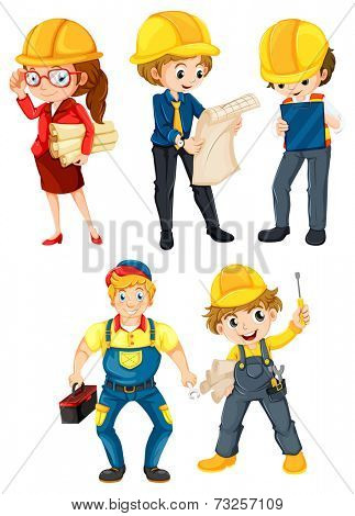 Illustration of the hardworking people on a white background