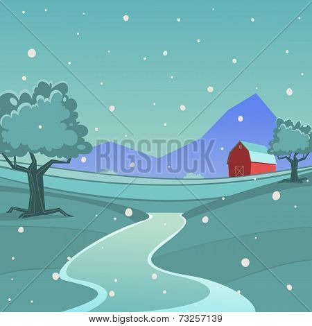 Winter Farm Landscape