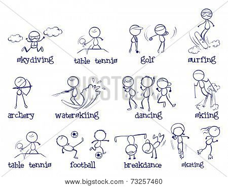 Illustration of sport doodles on white