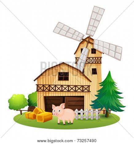Illustration of a pig in front of the farmhouse with a windmill on a white background