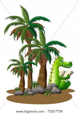 Illustration of a crocodile reading near the coconut trees on a white background