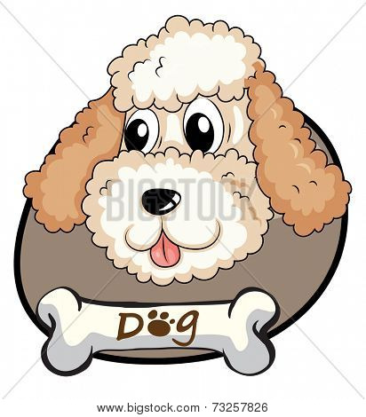 Illustration of a head of a cute dog on a white background
