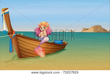 Illustration of a mermaid at the boat