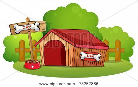 Illustration of a doghouse at the backyard on a white background