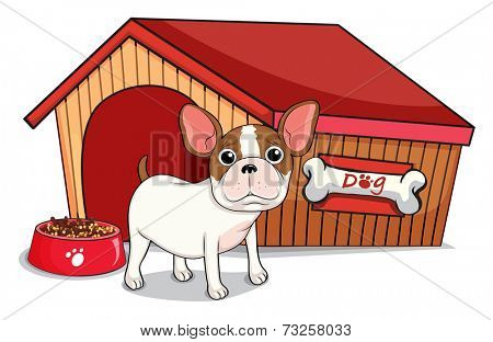 Illustration of a young bulldog outside the doghouse on a white background