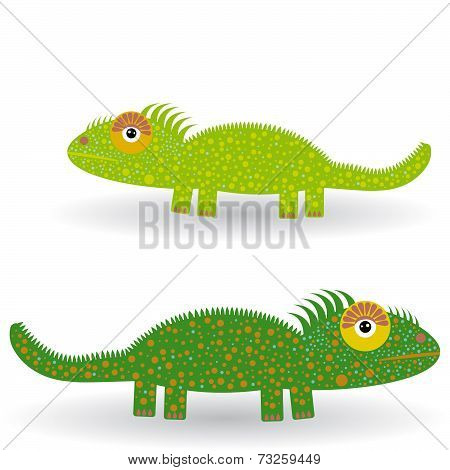 Funny Green Iguana On A White Background. Vector
