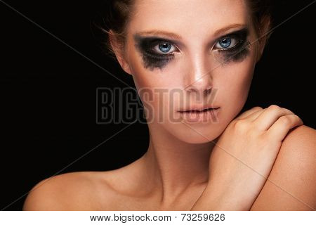 Fashion Girl Crying Make Up On Black
