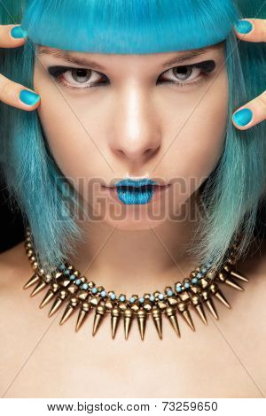 Fashion Woman With Blue Hair And Necklace
