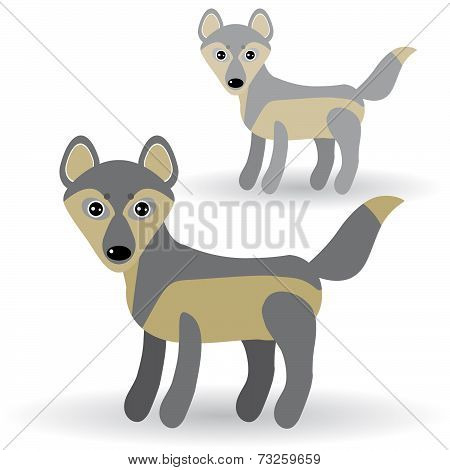 Funny Gray Wolf On A White Background. Vector