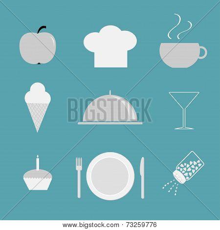 Restaurant Icon Set. Chef Hat, Cloche, Coffee, Plate, Salt Shacker, Martini Glass, Ice Cream, Cupcac