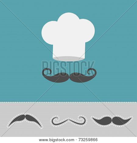 Chef Hat And Mustache Set. Menu Card. Flat Design Style.