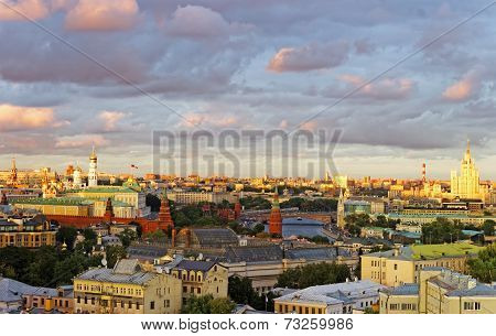General View To Moscow Cuty Center And Kremlin View With Stormy Sky
